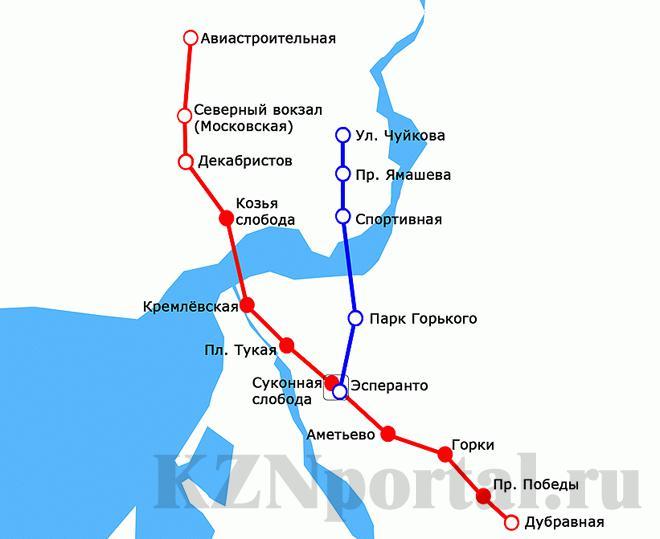 Схема метро Казани