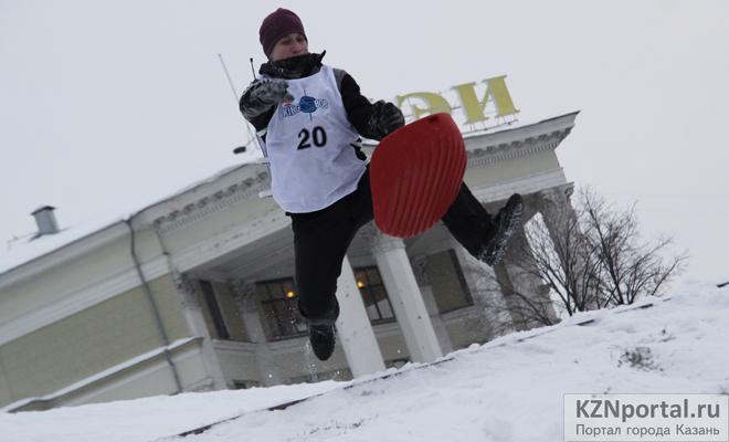 Соревнования на ледянках Казань